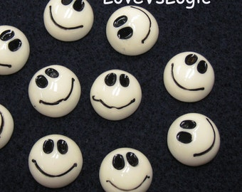 10 Smiley Face Lucite Cabochon. Light Yellow Tone.