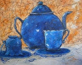 Blue Tea Original Mixed Media Painting on Stretched Canvas