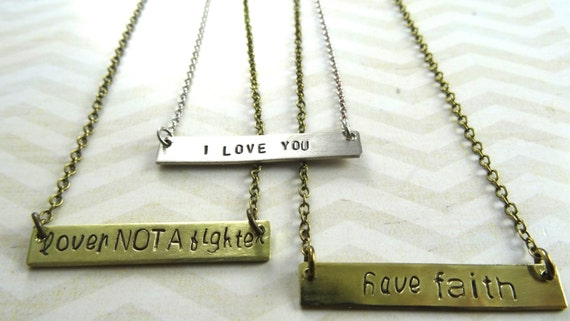 Custom Stamped Small Name Plate Necklace