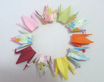 10 Colorful Assorted Washi Japanese Origami Paper Cranes