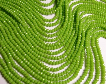 Crystal faceted rondelle - 140 pcs - 17 inch strand - 4 mm - A quality - lime green - FCRM43