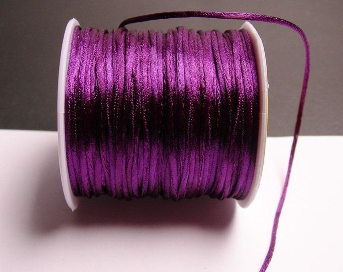 Satin Rattail Cord - knotting/beading cord -1.5mm - 65 meter - 213 foot - dark purple - SSC33