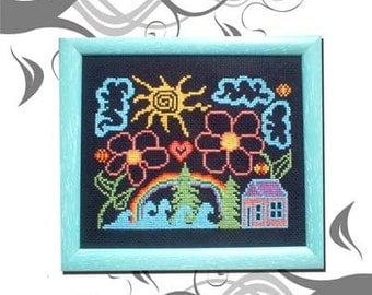 PDF E pattern emailed Whimsical Flower House beach Cross Stitch Pattern Chart Design 4 *