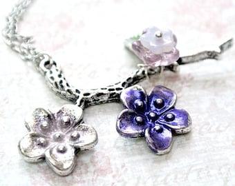 Flower Pendant Necklace, Floral Necklace