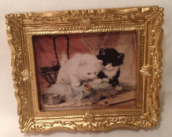DOLLS HOUSE MINIATURES - 1/12th Hand Framed picture - curious cats (5)