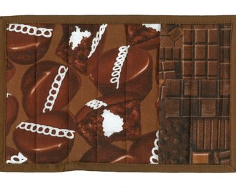 Chocolate Cupcake Mug Rug, handmade cookie quilted snack mat table coaster mini-quilt