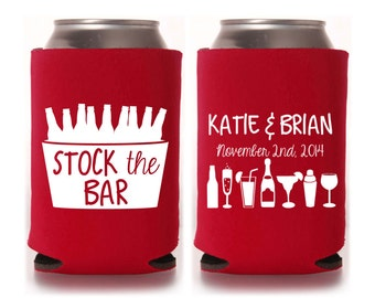 Engagement Party Favors - Personalized Stock the Bar Can Coolers, Housewarming Favors, Wedding Shower Favors, Beer Insulators, New Home