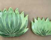 Set of 2 Agave Cactus spoon rests, ceramic serving dish, table setting accents, kitchen stove decor, Turquoise glaze, southwest design,
