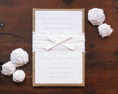 Burlap Pocket Invitations with Silk Bow and Printed Return Envelopes