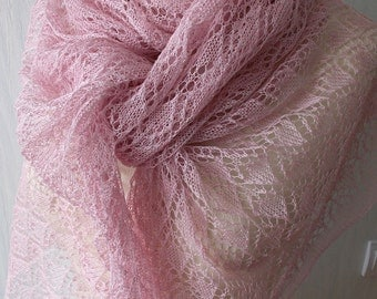 Knitted Linen Scarf Lace Shawl Natural Summer Wrap for Women in Pale Pink