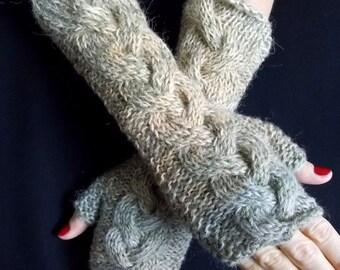 Fingerless Gloves Green Wrist Warmers Khaki Green Light Brown Grey Cabled
