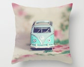Pillow Cover - Aqua VW Bus - pink, green, aqua, dorm decor, home decor, toss pillow, throw pillow, bedding, toy car, vintage VW Beetle
