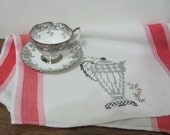 Vintage Hand Embroidered Cotton Linen Kitchen Towel Coffee Pot Design