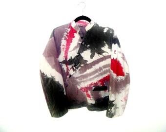 waREAbLe aRT Vintage 90's Watercolor Cave Painting Print on Diagonal Smock Front Jacket by Juntos Men's XL