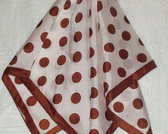 Vintage Brown Polka Dotted Scarf Nylon Japan Glentex Pretty Woman Scarf Retro Fashion Head Scarf Accessory