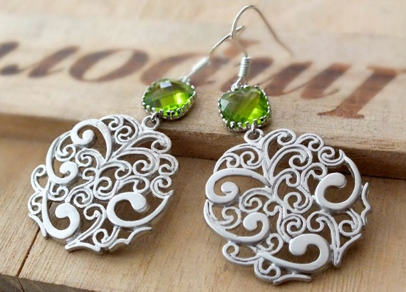 Silver Filigree Dangle Earrings, Christmas Gift - Also Available in Gold, Dark Apple Ancient Motif Round Paisley Dangle Earrings, Mother Day