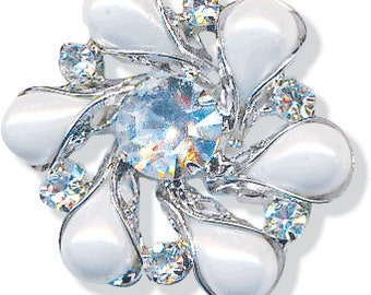 Luminous Silver Button with Crystal Rhinestones Metal Buttons Shank