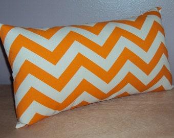 Orange and Cream Chevron Zig Zag Decorative Mini Lumbar Pillow Cover - 3 Sizes Available