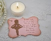 Candle Favor Tags Baby Shower Pink Ballerina Once the Stork has made its Flight Set of 10