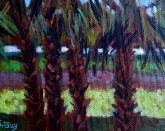 Original Plein Air Oil Painting Tropical Palm Trees
