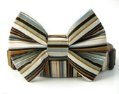 Striped Bow Tie Dog Collar - Brown Tan Blue Ivory