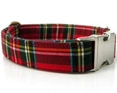 Red Plaid Dog Collar - Scottie Plaid - Nickel Hardware