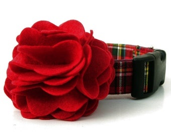 Red Plaid Dog Collar with Flower Accessory - Scottie Plaid - Black Hardware