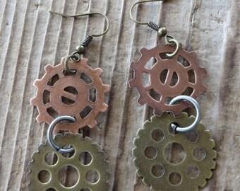 Steampunk Dangle Gears Earrings