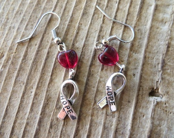 HIV/AIDS Awareness Earrings with Dark Red Hearts and Silver Hope Ribbons