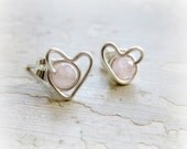 Rose Quartz Heart Stud Earrings, Sterling Silver Posts, Wire Wrapped, Sterling Heart Studs, Hypoallergenic, Quartz Studs, Small Stud Earring