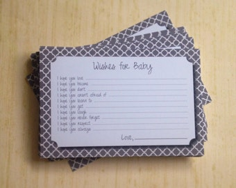 Wishes for Baby Cards - Unique Baby Shower Activity Game or Memory Book Idea - Neutral Gray for Boy or Girl