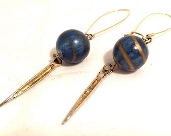 ARTISAN Art Craft Dangling Long Earrings BLUE Golden Ball Drop Golden Feather 80s 90s Authentic Vintage Jewelry artedellamoda talkingfashion