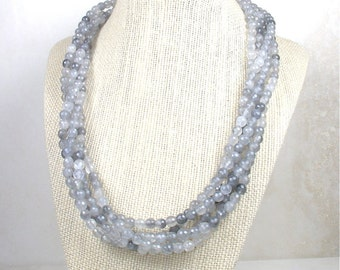 Multi Strand Faceted Natural Gray Quartz Stone Necklace with Sterling Silver Filagree Box Clasp