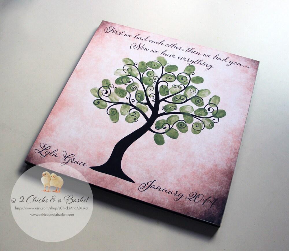 Baby shower fingerprint tree sign guest book by 2chicksandabasket