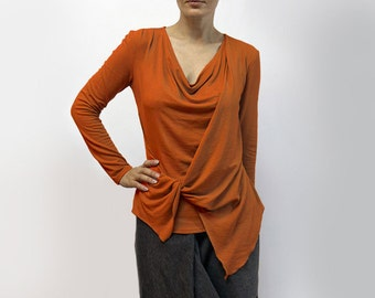 blouse,orange blouse,asymmetric blouse,knitted blouse,long sleeves,original blouse,rust blouse,autumn blouse,suit,orange top  Model B 55