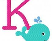 Cutie Swim Whale Machine Embroidery Monogram Font Set Instant Download