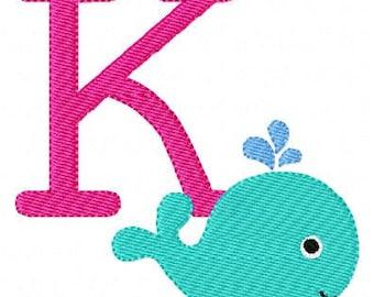 Whale Baby Machine Embroidery Monogram, Font Set,  Instant Download // Joyful Stitches