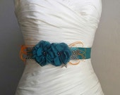 PETITE ASHLEY - Two Teal flowers on Teal Satin with Feathers- Bridal Sash