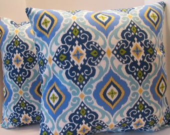 Pillow Cover Royal Blue Aquamarine Blue Turquoise Blue and Yellow Moroccan Design 18 Inch Cushion Cover Throw Pillow