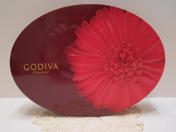 Godiva Chocolatier Candy Tin Burgundy Red Pink Floral Gorgeous