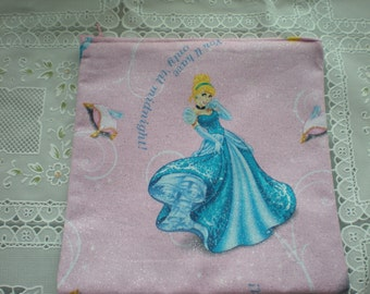 Sparkly, glittery Cinderella zippered make up case, cosmetic case, small purse, pouch or gift bag