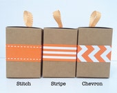 Narrow Orange Paper Ribbon in Pattern of Your Choice