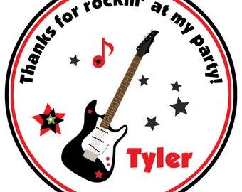 Guitar Birthday  Sticker -- guitar sticker Rockin Birthday Party Sticker Favor Tag