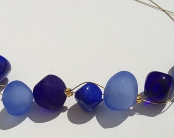 Statement Necklace with Blue Hollow Beads