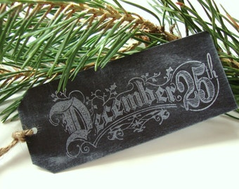 Chalkboard Christmas Gift Tags Holiday December 25th Tag