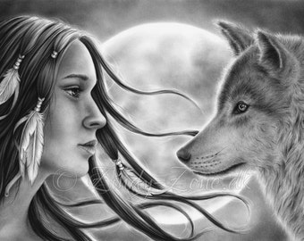 Crossing Spirits Moon Girl Native Indian Woman Wolf Emo Art Print Glossy Zindy Nielsen