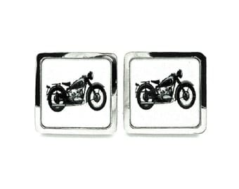 Motorbike Cufflinks - Mens Wedding Jewelry Black and White - Father of the bride Groom Groomsmen Best Man