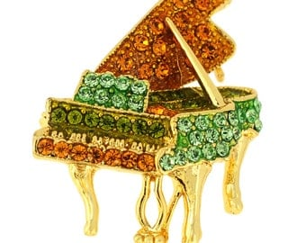 Multicolor Golden Piano Crystal Pin Brooch 1000694