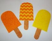 3 Iron On Applique ORANGE LEMON Yellow Speckle Dot And Chevron Stripe Popsicles