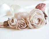 Beige, ivory floral bridal sash, Wedding sash, Champagne and ivory bridal sash, Wedding bridal belt